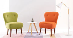 Orange_Linen fabric tub chair