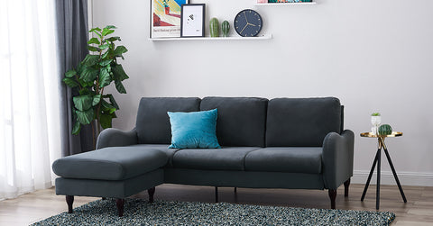 3 Seater Sofa with Footstool, Corner Sofa - Velvet Fabric Grey