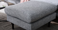 3 Seater Sofa with Footstool, Corner Sofa - Linen Fabric Grey