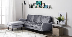 3 Seater Sofa with Footstool, Corner Sofa - Velvet Fabric Silver
