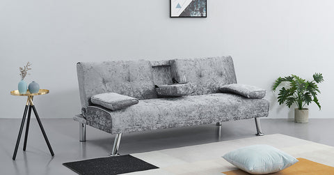Velvet_sofa bed with cup holder