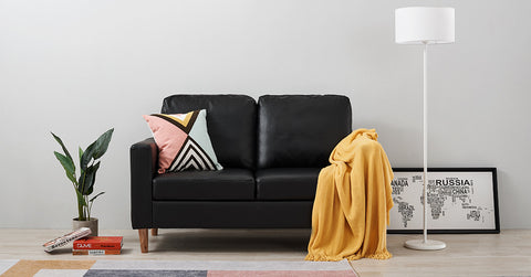 Black_Faux Leather Sofa Settee Couch