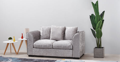 Silver Crushed Velvet Corner Sofa Couch,More Size Available
