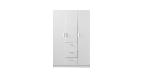 White_3 Door Wardrobe with Wardrobe