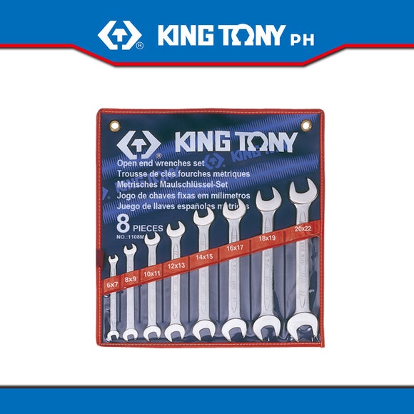 King Tony #1108MR, Open Wrench Set, 6-22mm (8pcs.) - United Solid Facility Inc.