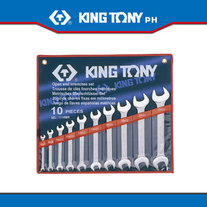 King Tony #1110MR, Open Wrench Set, 6-28mm (10pcs.) - United Solid Facility Inc.