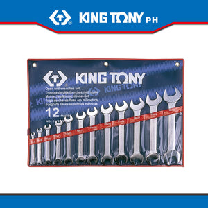 King Tony #1112MR, Open Wrench Set, 6-32mm (12pcs.) - United Solid Facility Inc.
