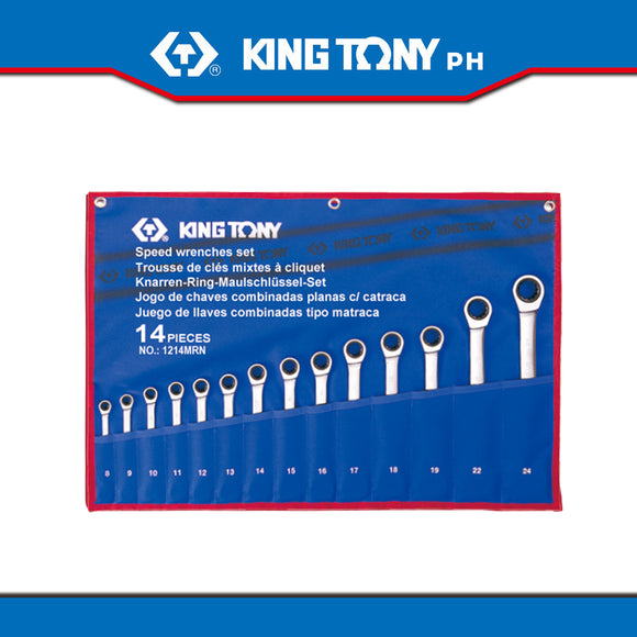King Tony #12114MR, Speed Wrench, 8-24mm (14pcs.) - United Solid Facility Inc.