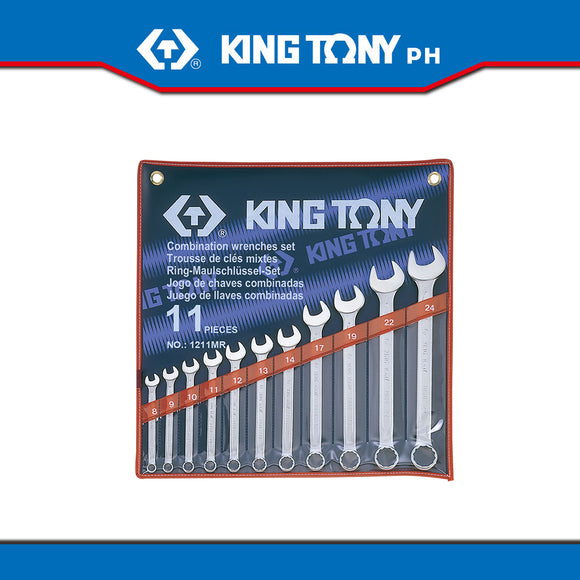 King Tony #1211MR, Combination Wrench Set, 8-24mm (11pcs.) - United Solid Facility Inc.