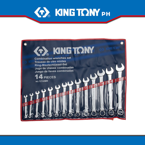 King Tony #1214MR, Combination Wrench Set, 10-32mm (14pcs.) - United Solid Facility Inc.