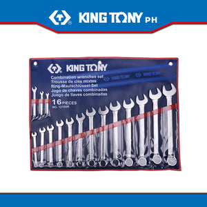 "King Tony #1216SR, Combination Wrench Set, 1/4""-1-1/4"" (16pcs.) - United Solid Facility Inc."