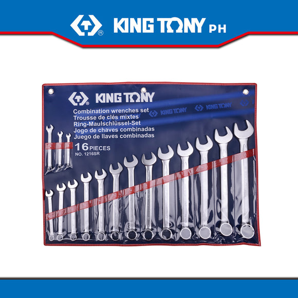 King Tony #1216SR, Combination Wrench Set, 1/4