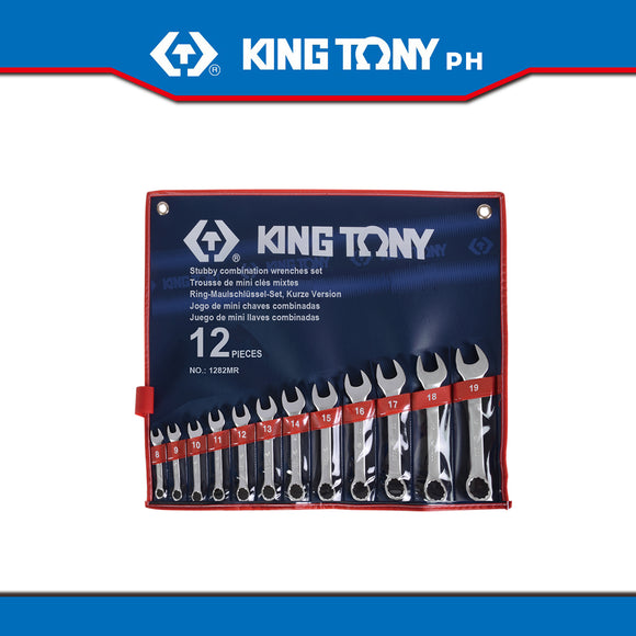 King Tony #1282MR, Stubby Combination Wrench Set, 8-19mm (12pcs.) - United Solid Facility Inc.