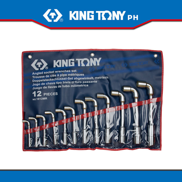 King Tony #1812MR, Angled Socket Wrench Set, 8-24mm (12pcs.) - United Solid Facility Inc.