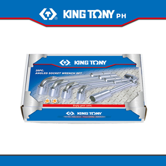 King Tony #1826MR, Angled Socket Wrench Set, 6-32mm (26pcs.) - United Solid Facility Inc.