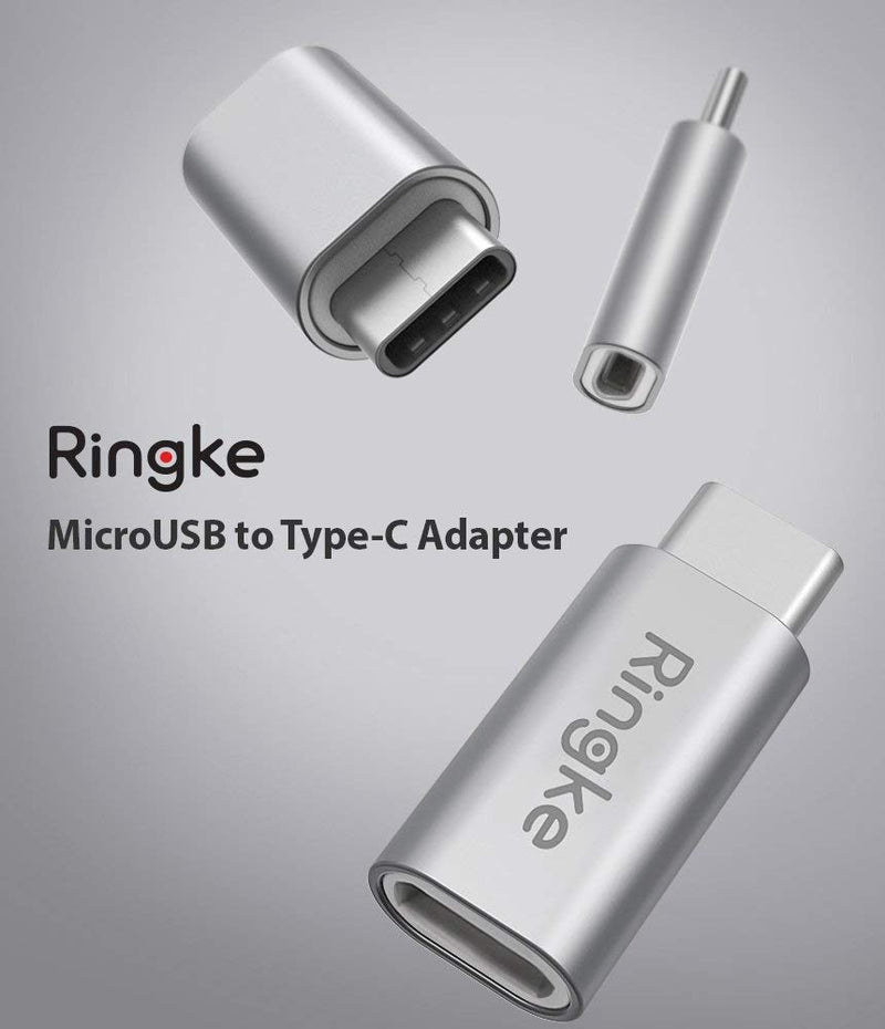 Ringke MicroUSB to Type C Port Adapter Micro USB Female to USB C Male Aluminum Converter [2-Pack] Charging Data Sync for Galaxy S9/S9+/S8/8+, MacBook, Chromebook, Pixel, Other Android Devices (Silver) (3 PACK)