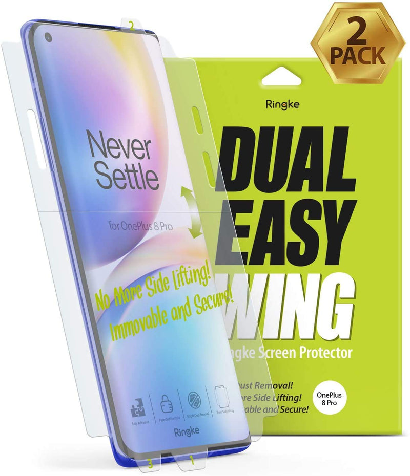 Ringke Dual Easy Wing Film (2 Pack) Designed for OnePlus 8 Pro Screen Protector