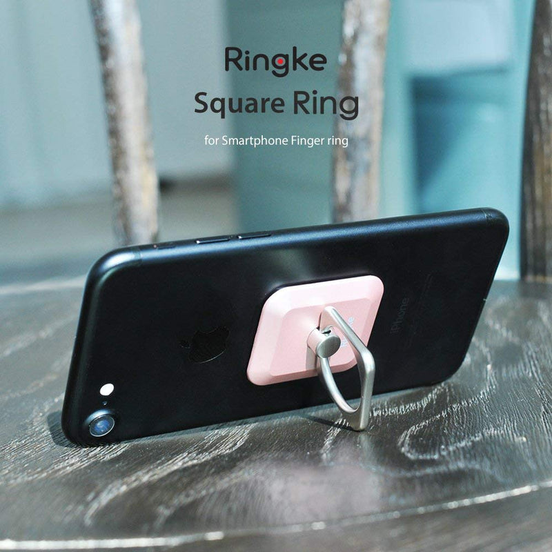 Ringke Square Ring Design 360° Rotation Grip Holder Light Car Attachment with Kickstand Cell Phone Stand for Mobile Phones