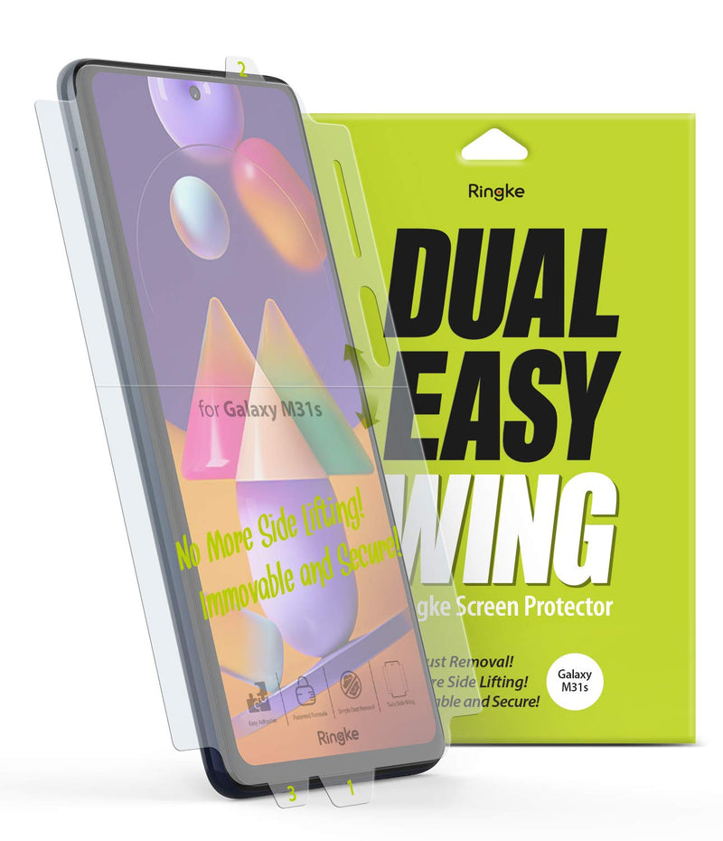 Ringke Dual Easy Wing Film (2 Pack) Designed for Galaxy M31s Screen Protector