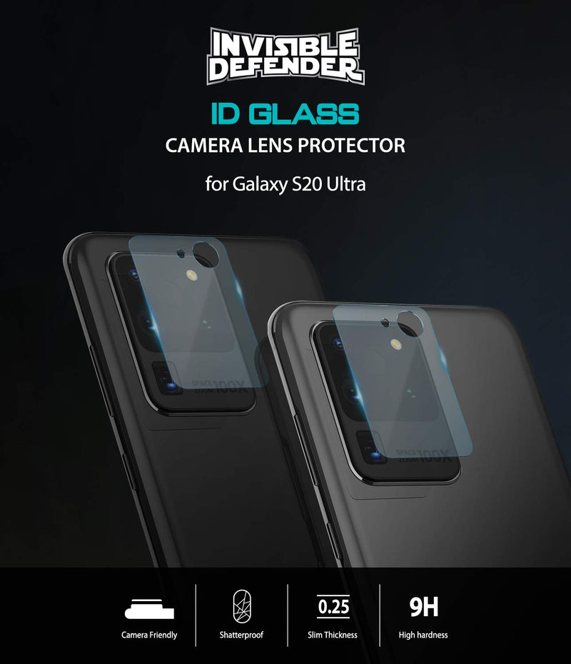 Ringke Invisible Defender Tempered Glass (3 Pack) Galaxy S20 Ultra Camera Lens Protector