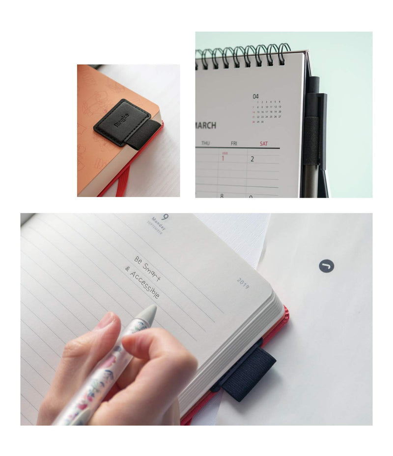 Ringke Pen Holder [3 Pack] for Apple Pencil, Journal, Notebooks, and More - 3M Self Adhesive PU Leather Durable Pen Loop with Elastic