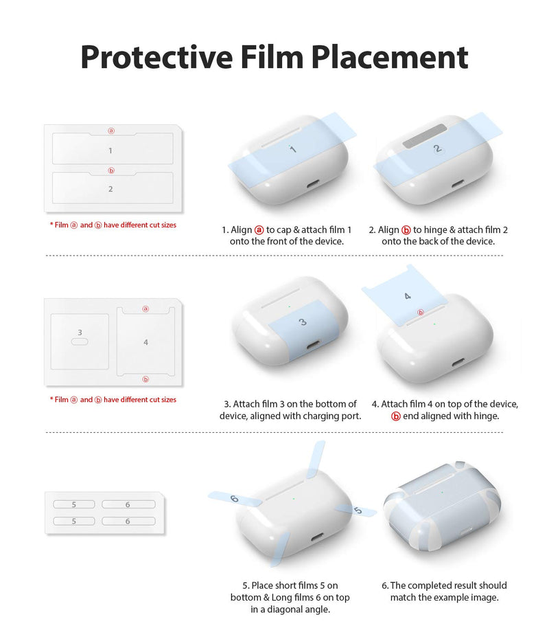 Ringke Layered Case Designed for AirPods Pro, Hard PC (Visible Front LED) Shock Resistant Cover for AirPods Pro Case with Carabiner (2019)