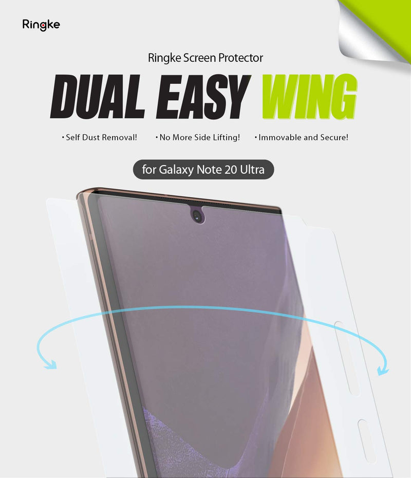 Ringke Dual Easy Wing Film (2 Pack) Designed for Galaxy Note 20 Ultra Screen Protector