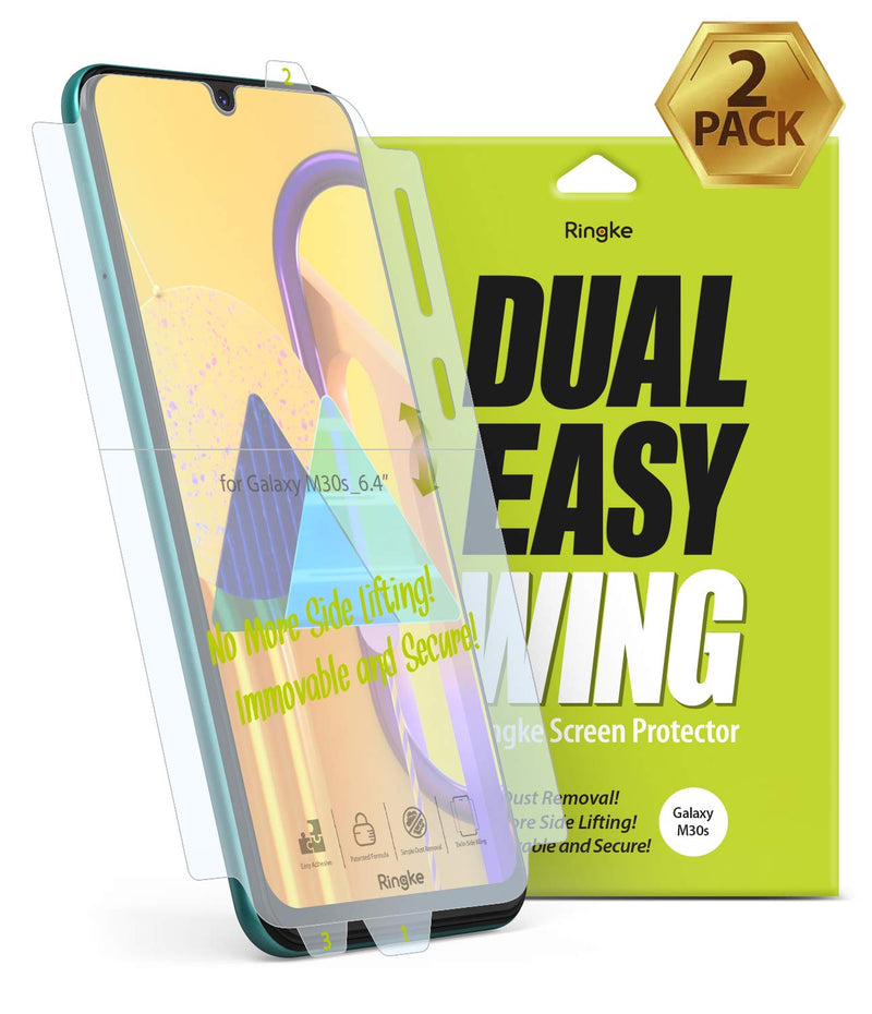 Ringke Dual Easy Wing Film Designed for Galaxy M21 / M30s Screen Protector, [2 Pack]