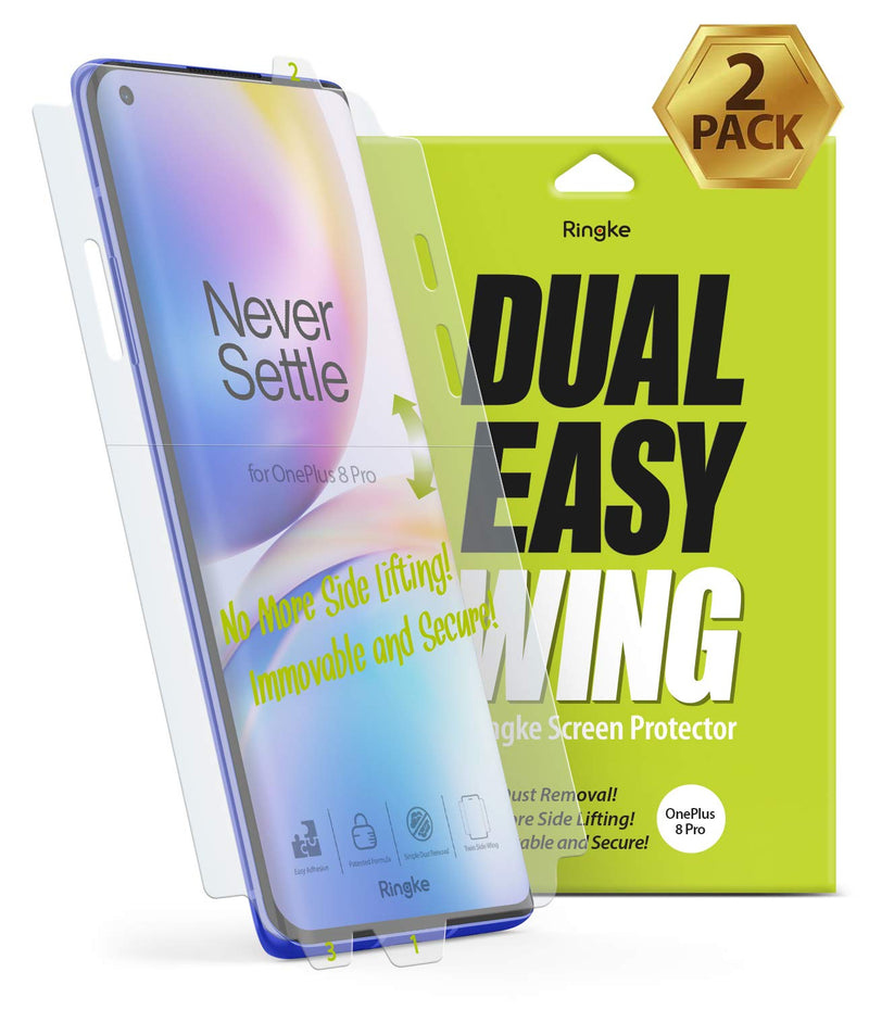 Ringke Dual Easy Wing Film Designed for OnePlus 8 Pro Screen Protector, [2 Pack]