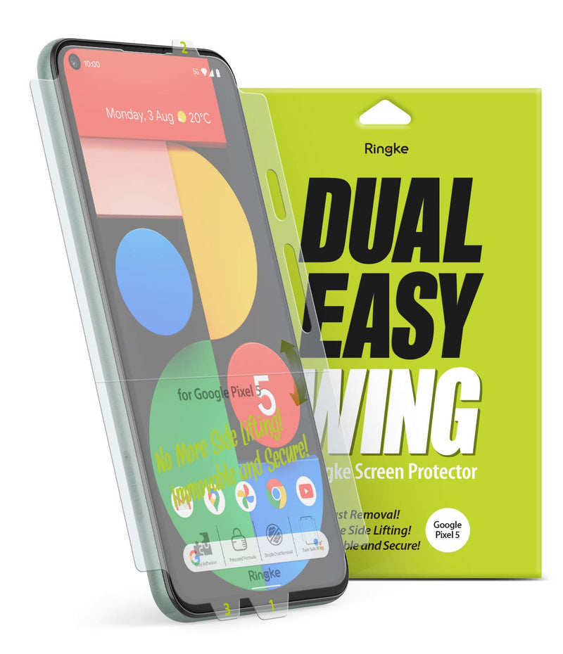 Ringke Dual Easy Wing Film (2 Pack) Designed for Google Pixel 5 Screen Protector