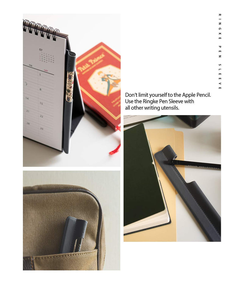 Ringke Pen Sleeve [Charcoal Gray] Designed for Apple Pencil, Journal, Tablets, and More