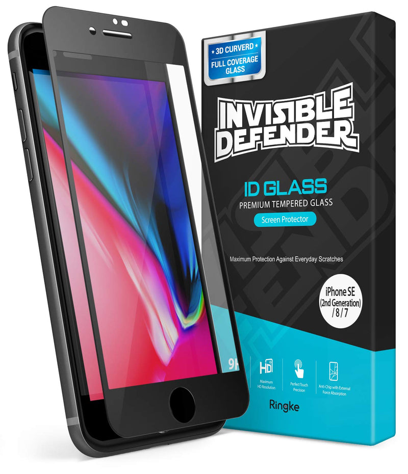 Ringke Invisible Defender Full Coverage Tempered Glass Compatible with iPhone SE 2020 / iPhone 8 / iPhone 7
