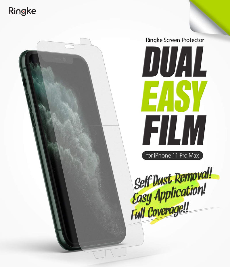 Ringke Dual Easy Film (2 Pack) Designed for iPhone 11 Pro Max Screen Protector