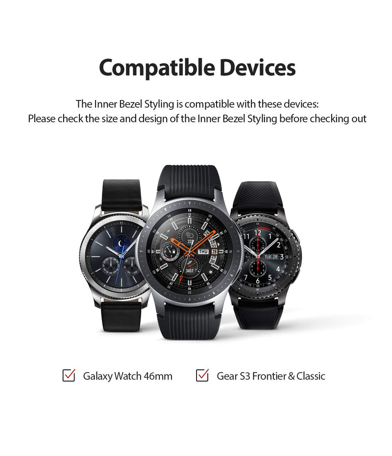 Ringke Inner Bezel Styling for Galaxy Watch 46mm, Galaxy Gear S3 Frontier & Classic Bezel Ring Adhesive Cover Anti Scratch Stainless Steel Protection for Galaxy Watch Accessory