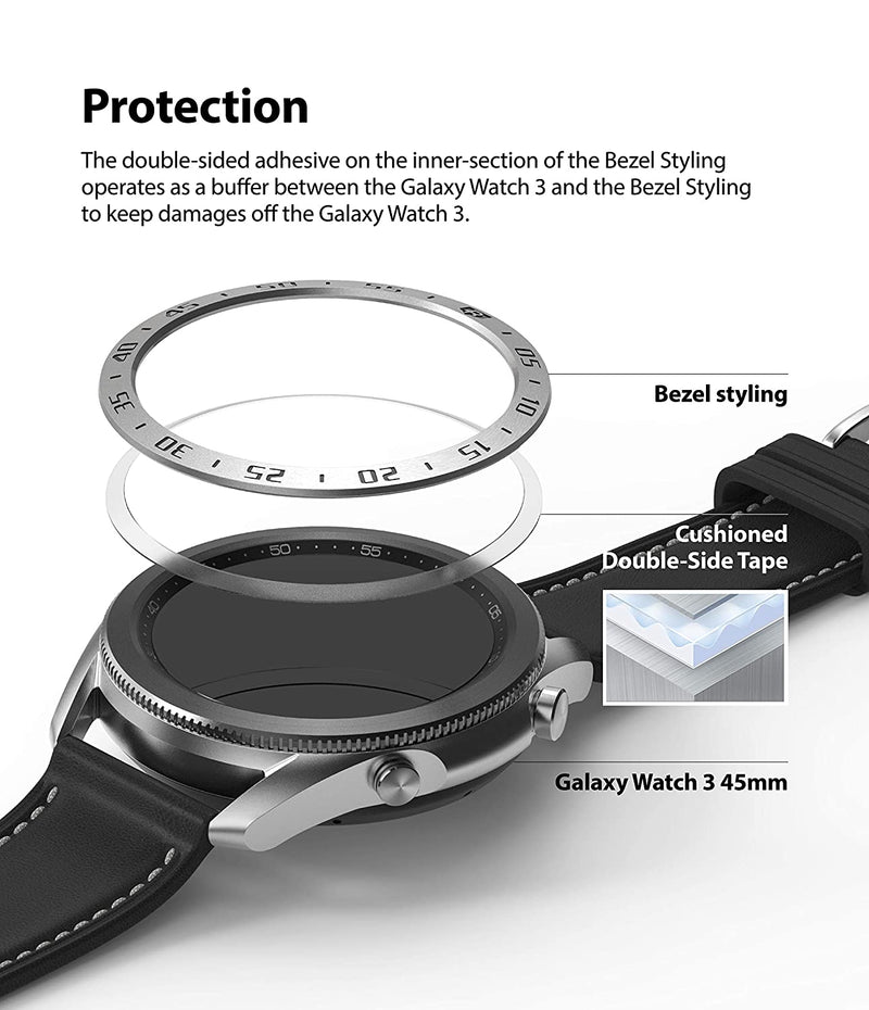 Ringke Bezel Styling for Galaxy Watch 3 45mm Bezel Ring Adhesive Cover Anti Scratch Stainless Steel Protection for Galaxy Watch 3 45mm Accessory - Silver [45-01]
