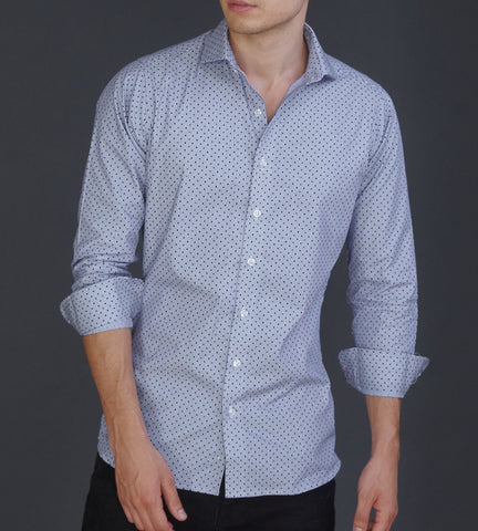 Blue dotted business casual shirt with cutaway shark collar portrait