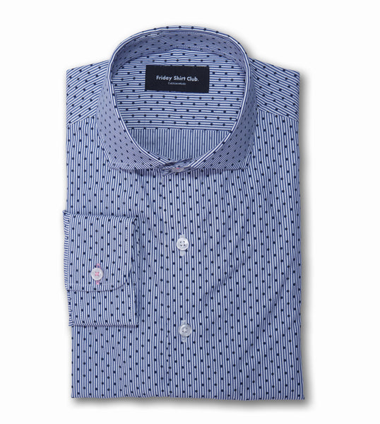 Blue dotted business casual shirt with cutaway shark collar