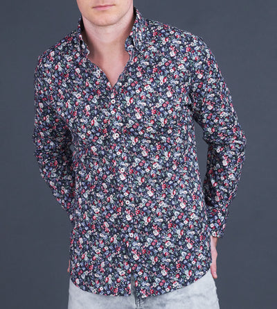 Guy posing wearing microfloral red blue button-down casual shirt
