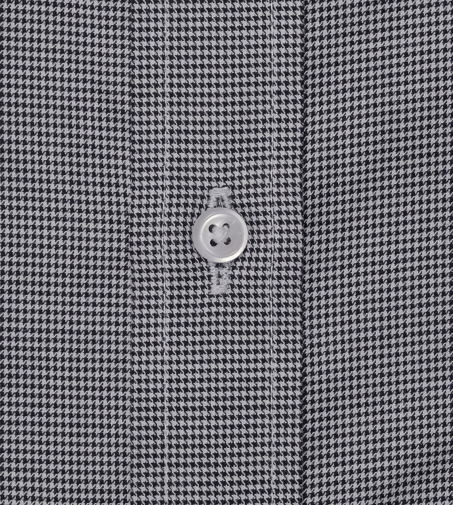 Detail Of Placket and Button Of Black White Houndstooth Pattern Mens Casual Shirt