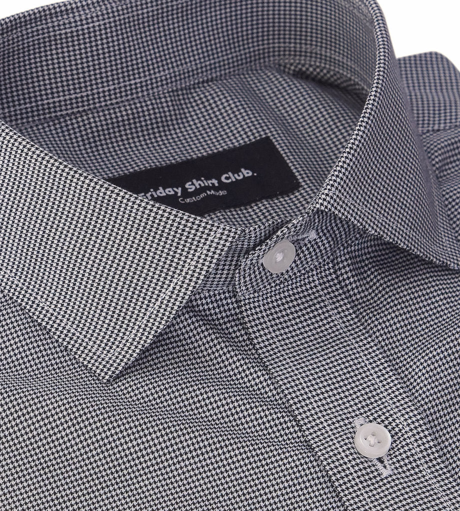 Black White Houndstooth Pattern Mens Casual Shirt Modern Tailor Collar View