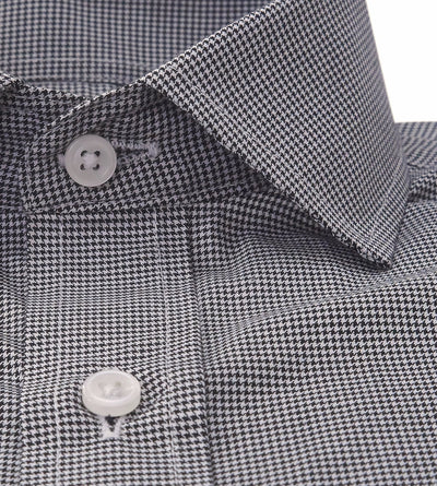 Black White Houndstooth Pattern Mens Casual Shirt Modern Tailor Collar Front View