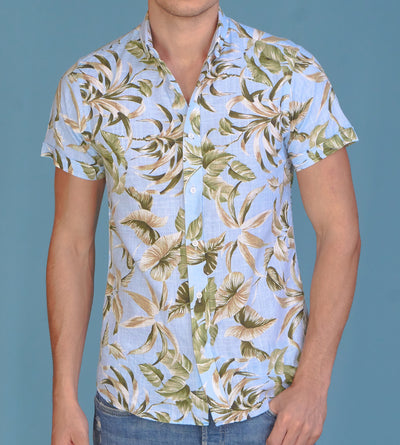 The Islander Casual Short-Sleeve Linen Shirt Floral Blue Closeup