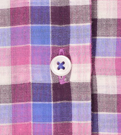 Shades of Retro Pink Checkered Casual Shirt Fabric