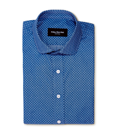 Short Sleeve Blue Polka Dot Shirt Custom Made Tailored Front