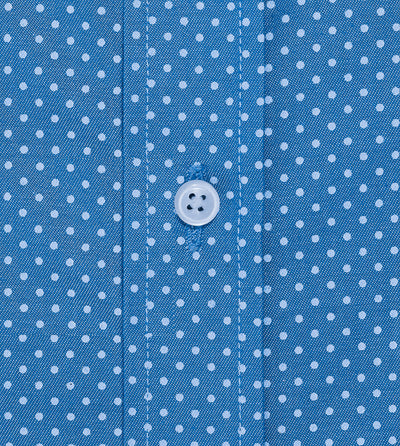 Short Sleeve Blue Polka Dot Shirt Custom Made Closeup