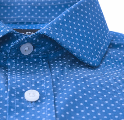 Short Sleeve Blue Polka Dot Shirt Custom Made Tailored Front View