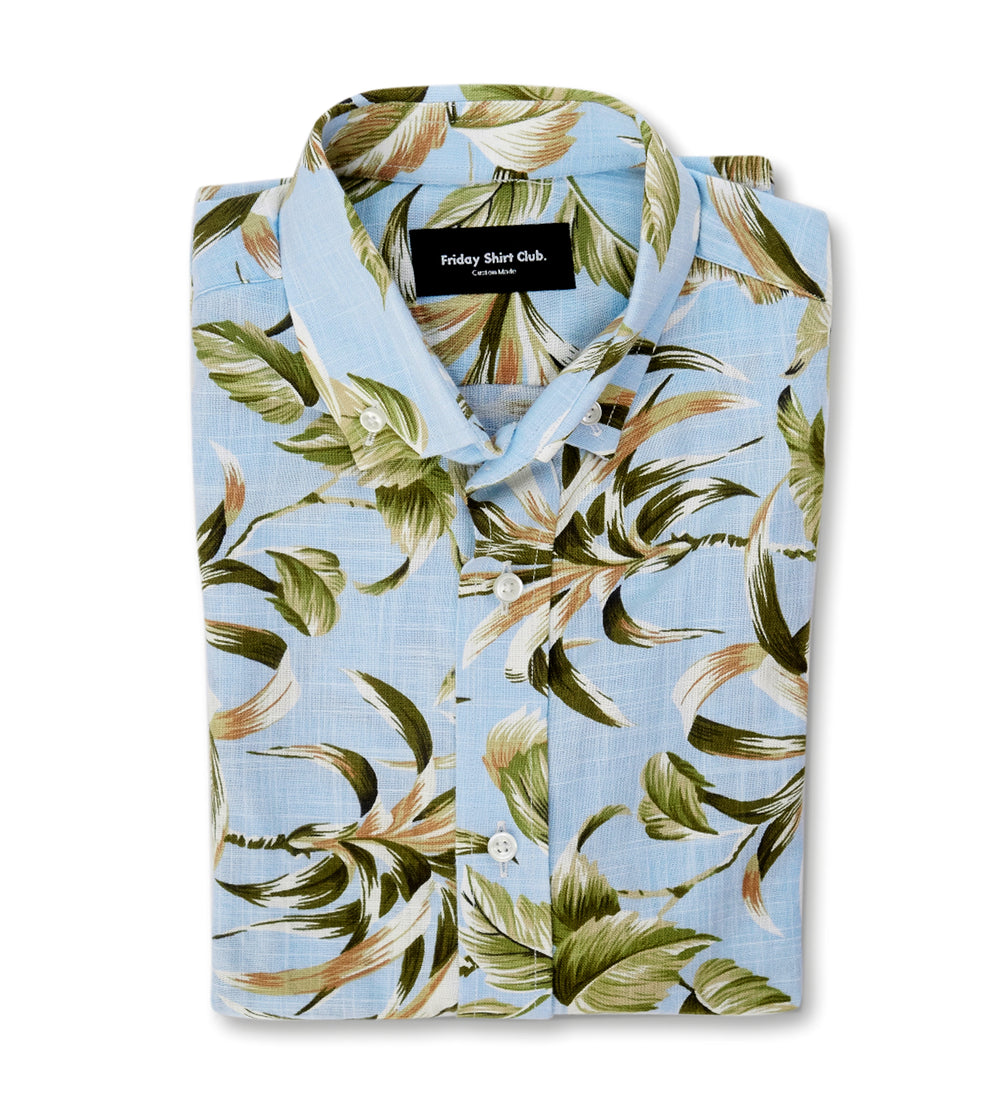 The Islander Casual Short-Sleeve Linen Shirt Floral Blue