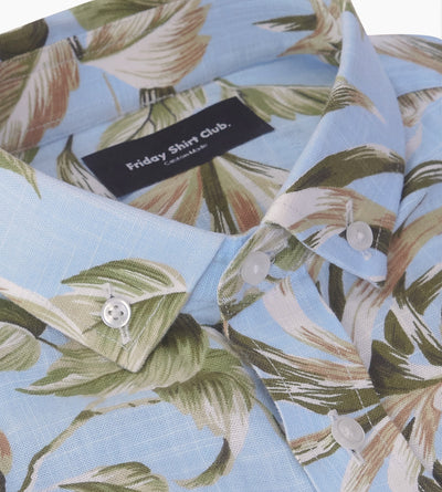 The Islander Casual Short-Sleeve Linen Shirt Floral Blue Collar