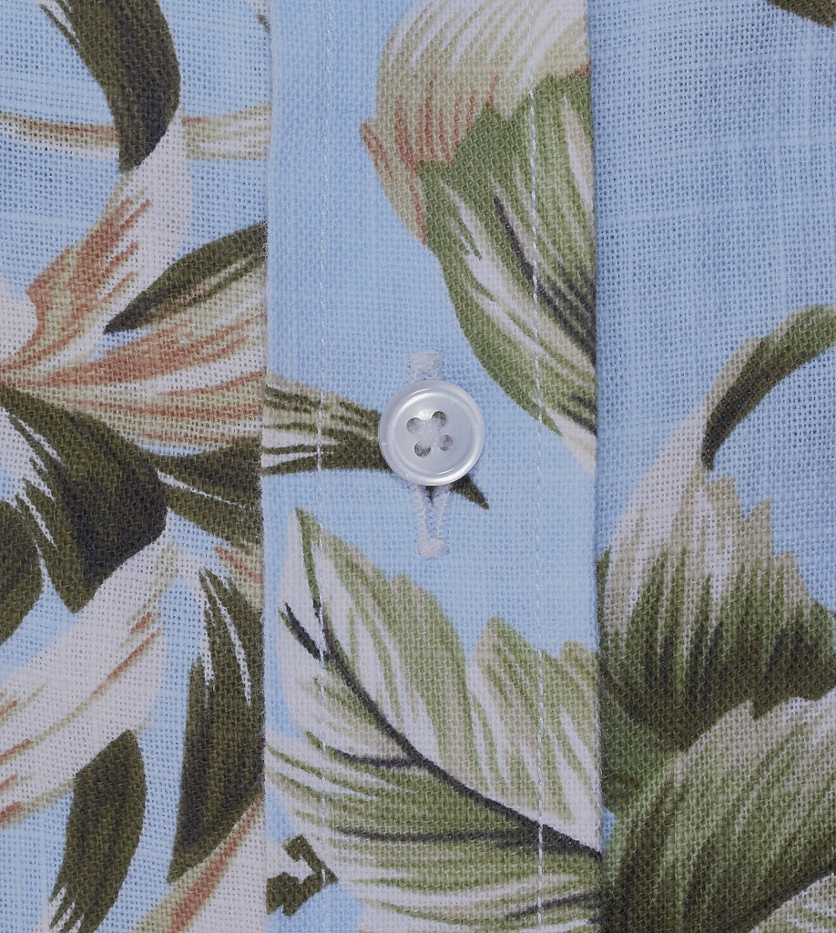 The Islander Casual Short-Sleeve Linen Shirt Floral Blue Detail