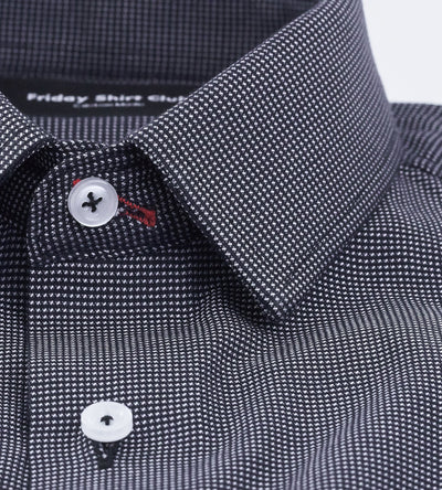Black Gray Checkered Mens Casual Shirt Front View Collar Button